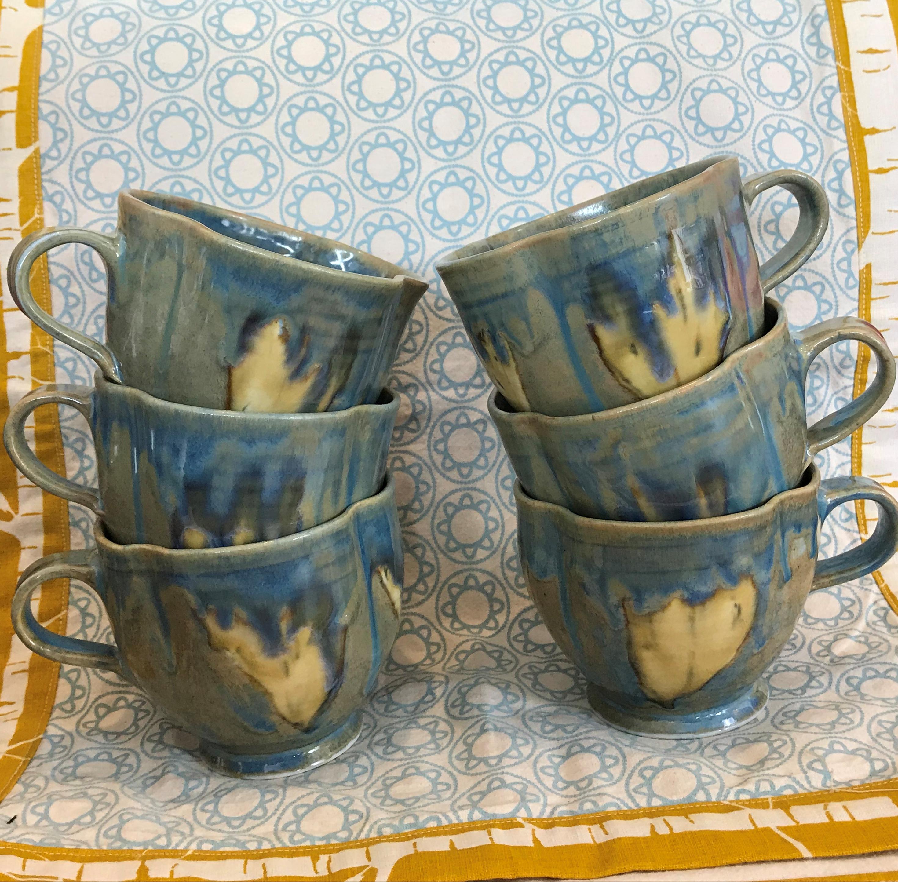 beautiful blue porcelain cups handmade by Rosemary O'Hara Pottery