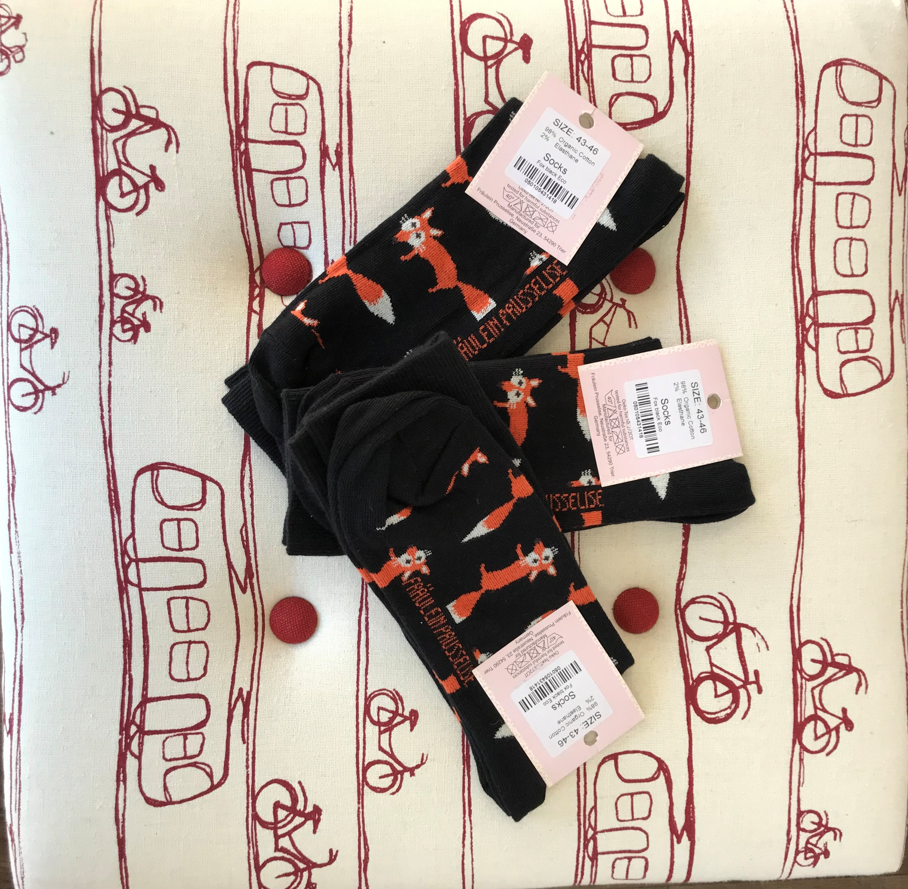 Fox Socks on the foot box
