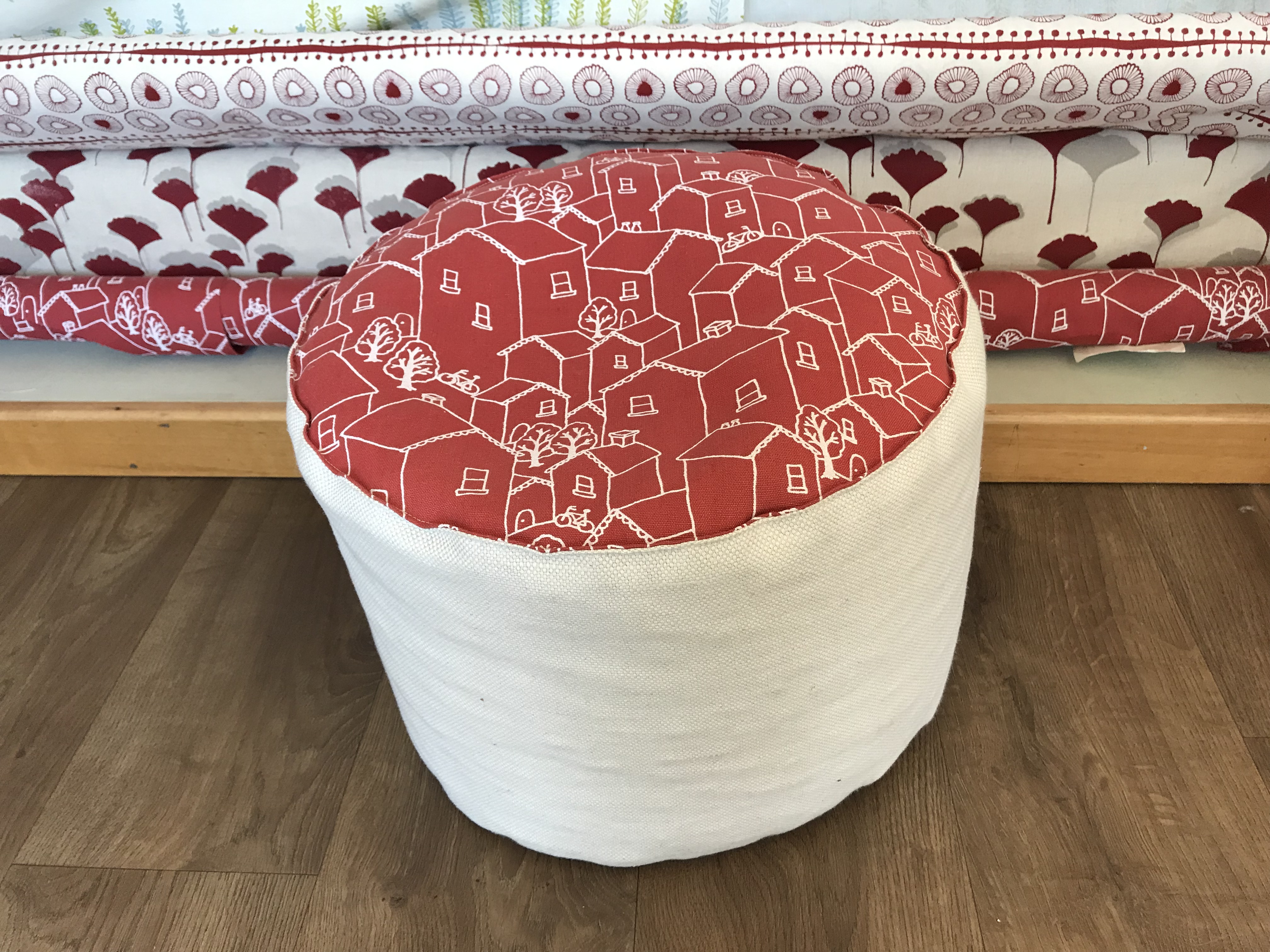 Roofttops in Berry Pouffe