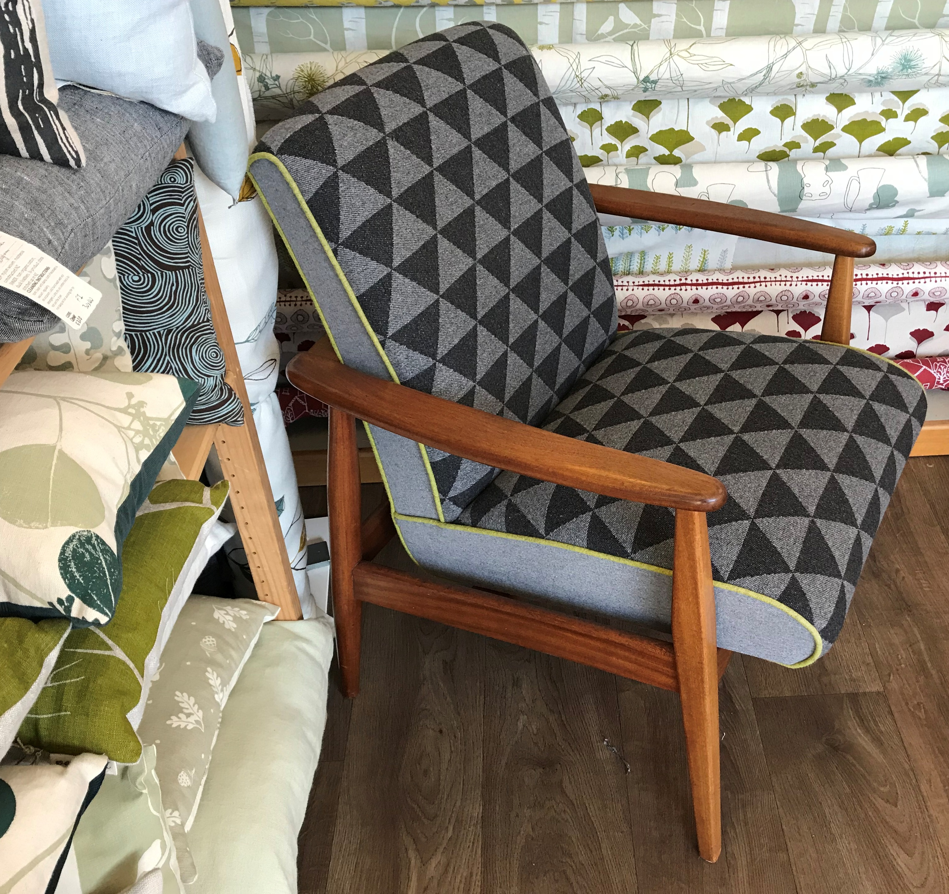 Midcentury Restored retro chair in Wool